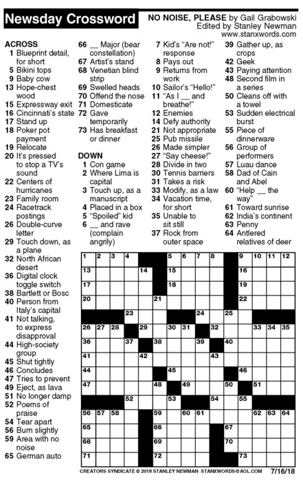 Newsday Crossword Puzzle for Jul 16, 2018