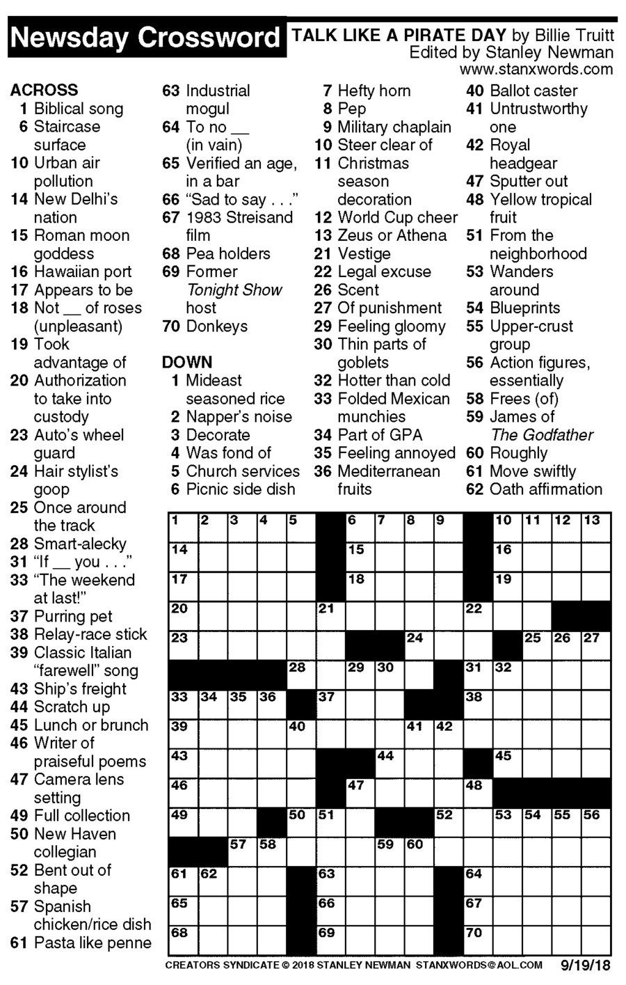 Newsday Crossword Puzzle for Sep 19, 2018