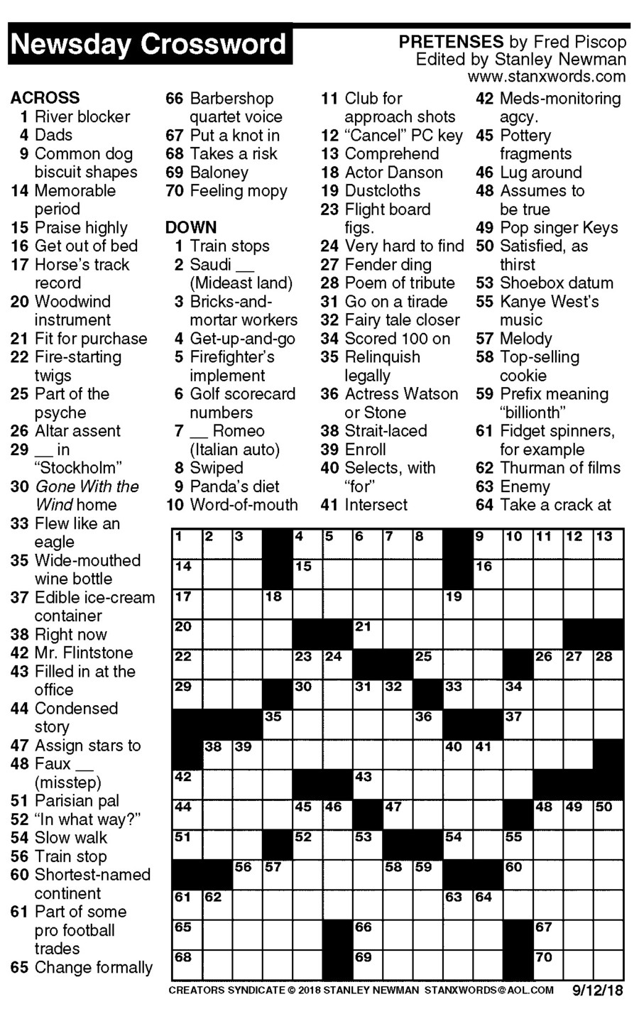 Newsday Crossword Puzzle for Sep 12, 2018