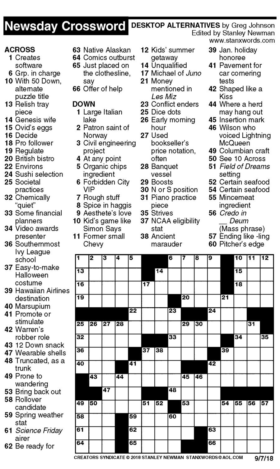 Newsday Crossword Puzzle for Sep 07, 2018