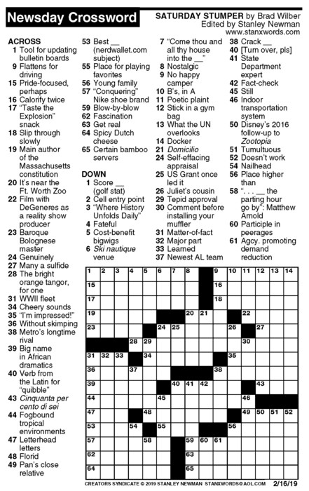 Newsday Crossword Puzzle for Feb 16, 2019