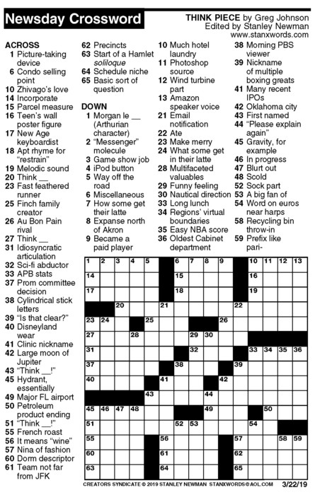 Newsday Crossword Puzzle for Mar 22, 2019