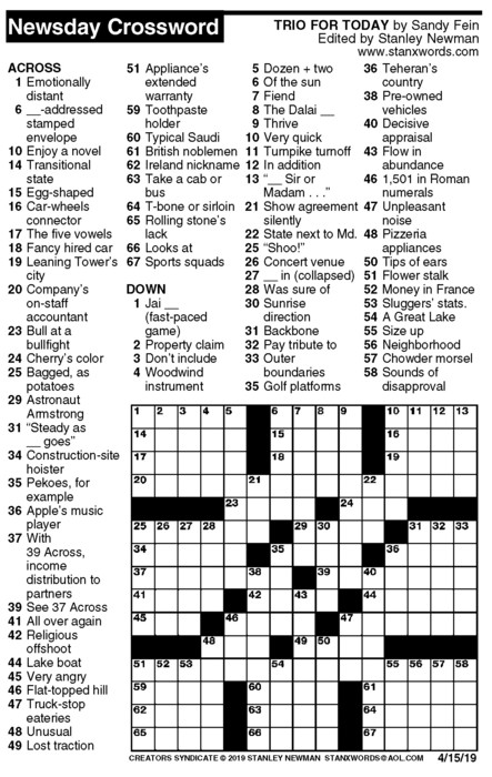 Newsday Crossword Puzzle for Apr 15, 2019