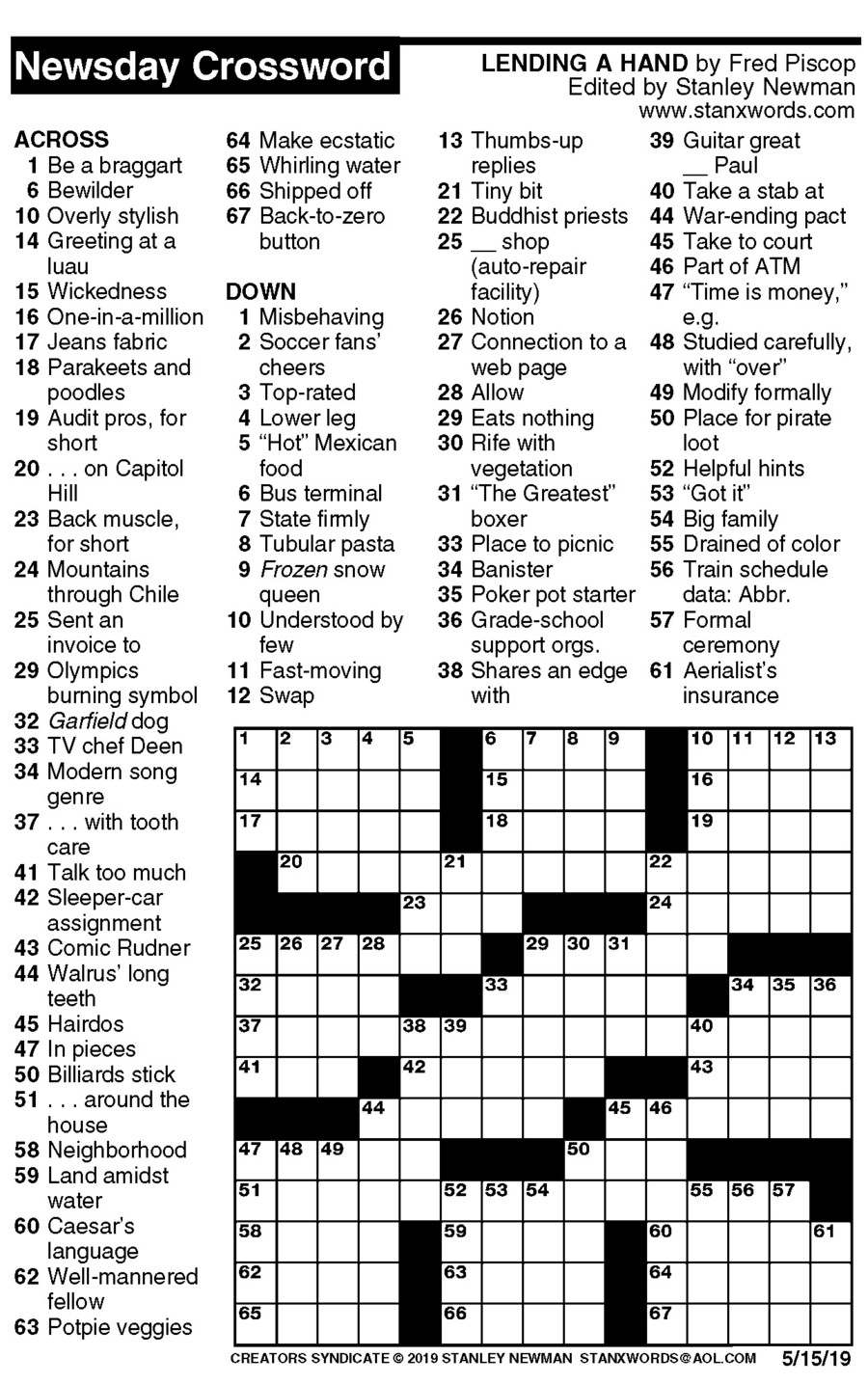 Newsday Crossword Puzzle for May 15, 2019