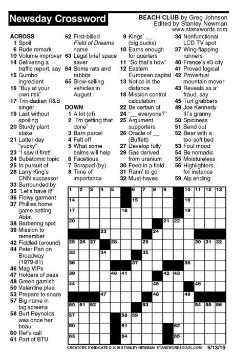 Newsday Crossword Puzzle for Jun 13, 2019