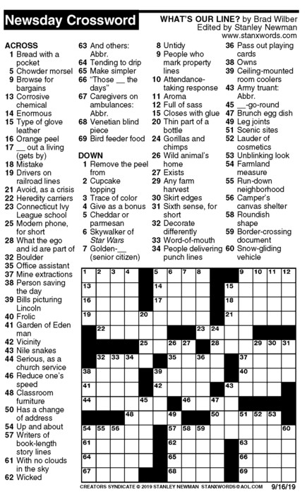 Newsday Crossword Puzzle for Sep 16, 2019