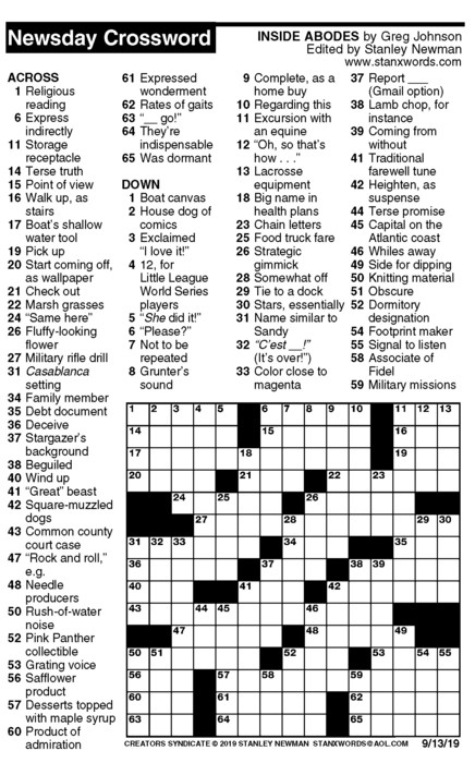 Newsday Crossword Puzzle for Sep 13, 2019