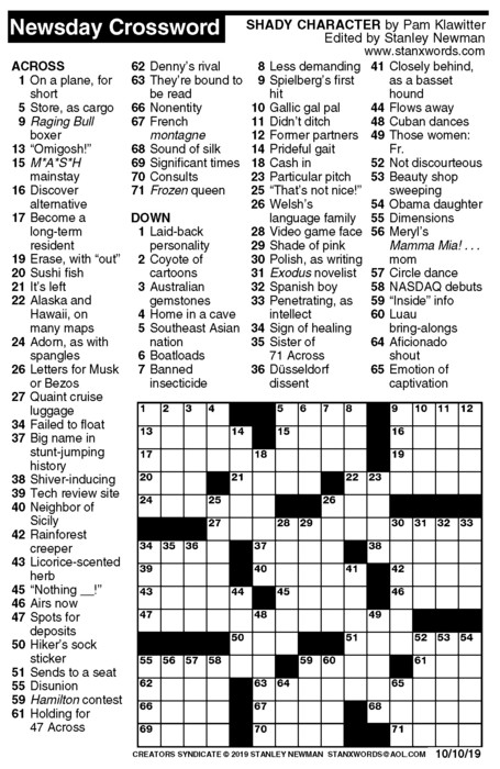 Newsday Crossword Puzzle for Oct 10, 2019