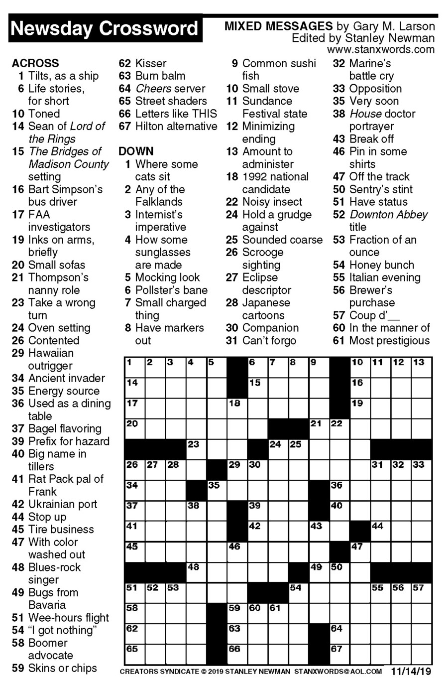 Newsday Crossword Puzzle for Nov 14, 2019