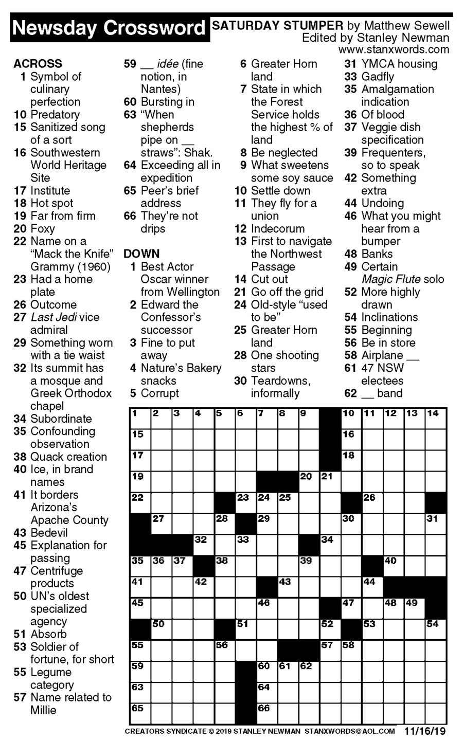 Newsday Crossword Puzzle for Nov 16, 2019