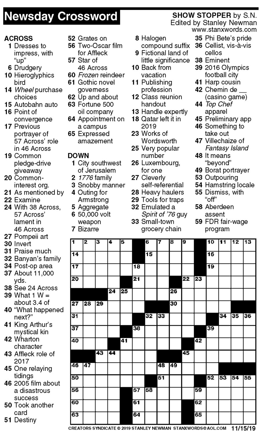 Newsday Crossword Puzzle for Nov 15, 2019