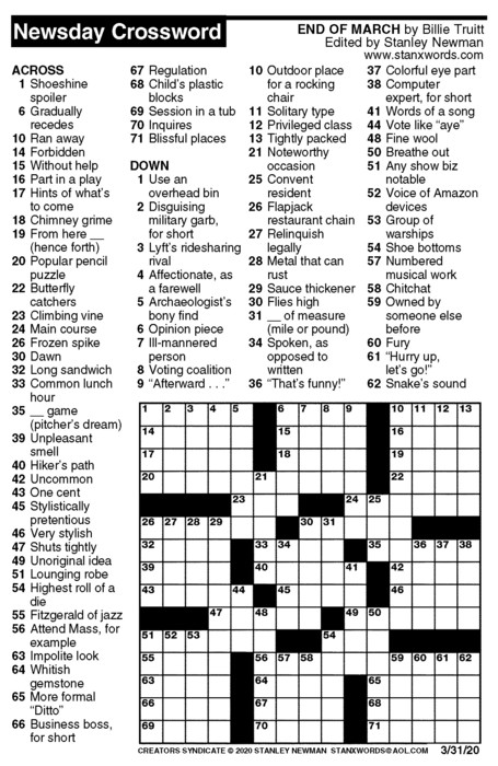 Newsday Crossword Puzzle for Mar 31, 2020