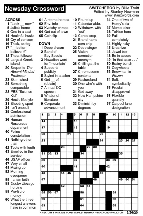 Newsday Crossword Puzzle for Mar 26, 2020