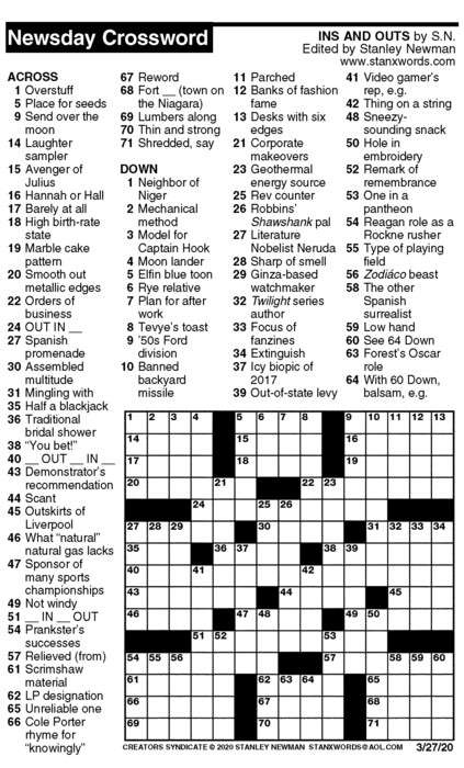 Newsday Crossword Puzzle for Mar 27, 2020