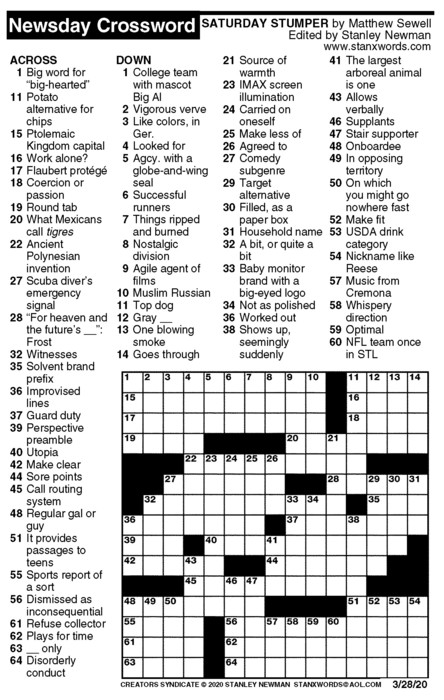Newsday Crossword Puzzle for Mar 28, 2020
