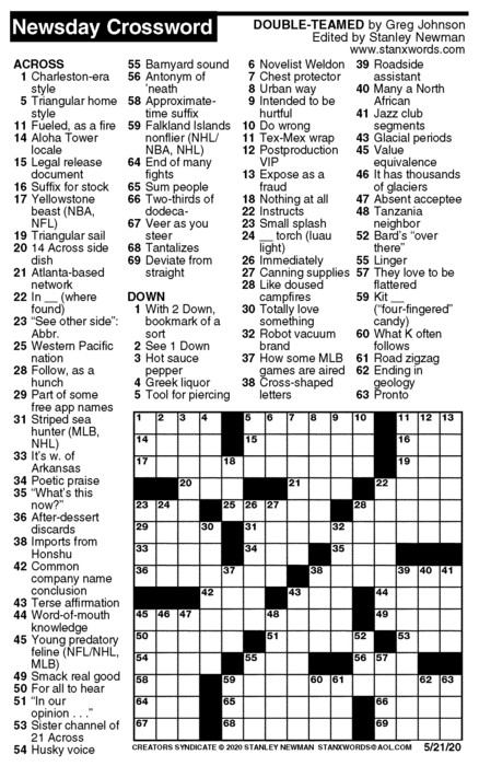 Newsday Crossword Puzzle for May 21, 2020