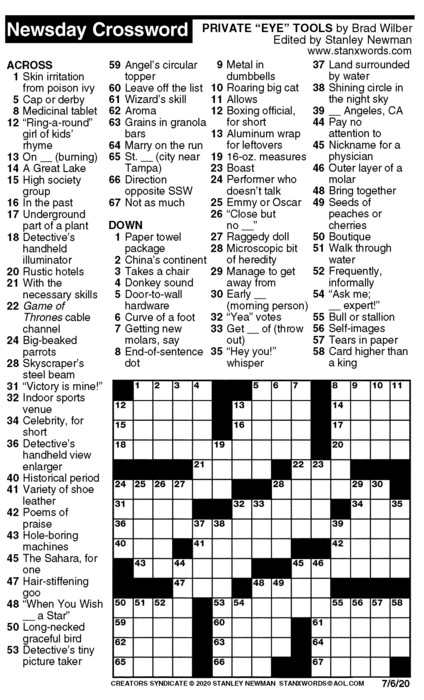 Newsday Crossword Puzzle for Jul 06, 2020