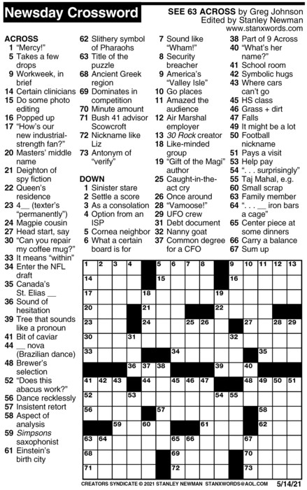 Newsday Crossword Puzzle for May 14, 2021