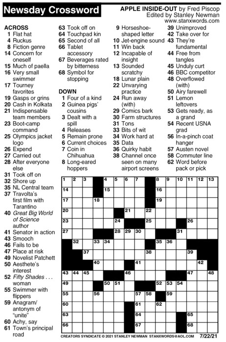 Newsday Crossword Puzzle for Jul 22, 2021
