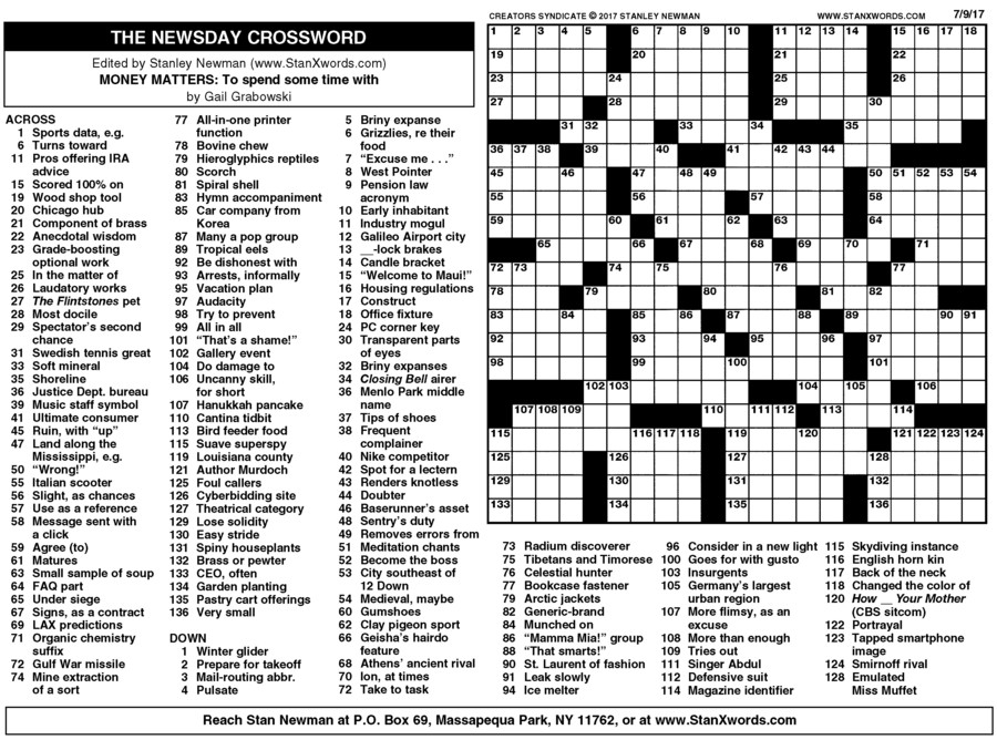 picture relating to Printable Sunday Crossword Puzzle known as Newsday Crossword Sunday for Jul 09, 2017, through Stanley Newman