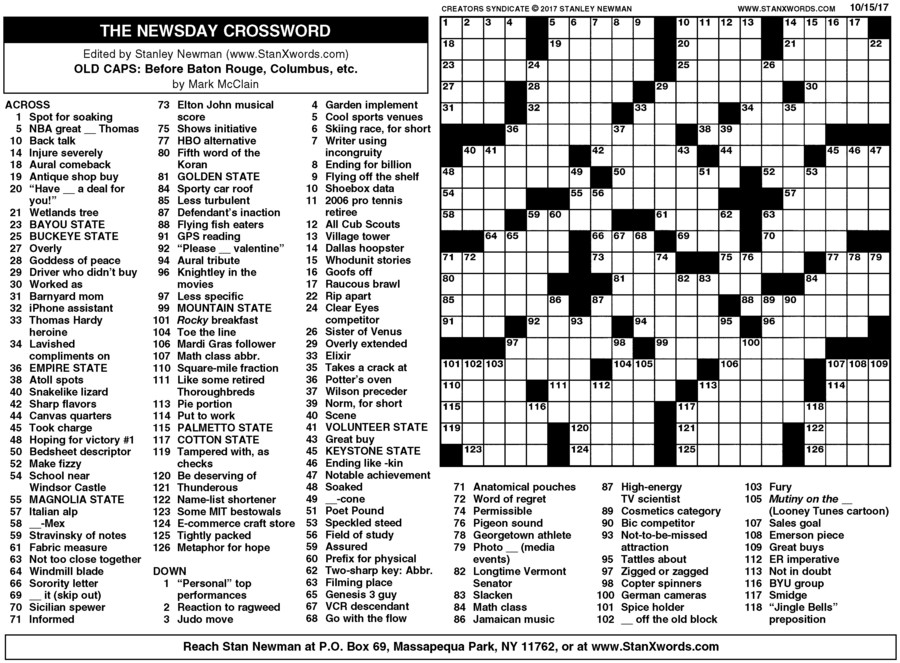 Newsday Crossword Sunday for Oct 15, 2017