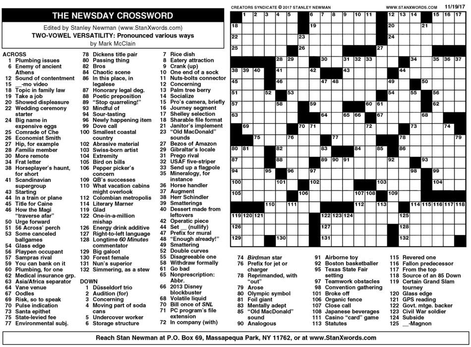 Crush Printable La Times Crossword | Tristan Website