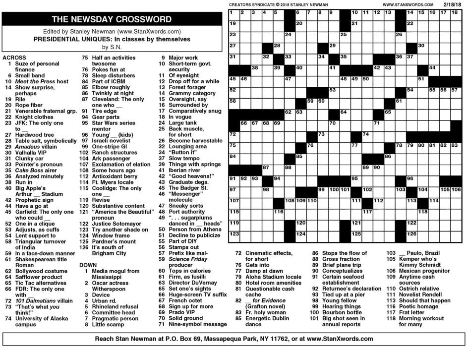 Newsday Crossword Sunday for Feb 18, 2018