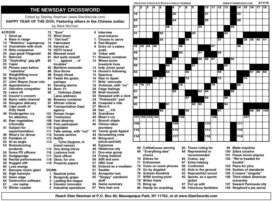 Newsday Crossword Sunday for Feb 11, 2018
