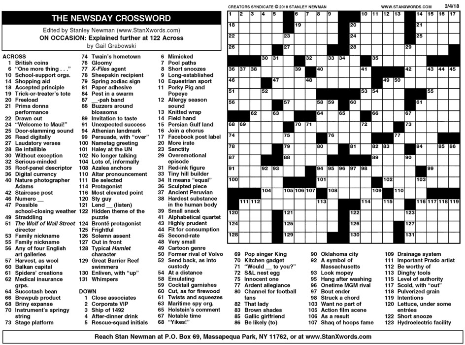 Newsday Crossword Sunday for Mar 04, 2018