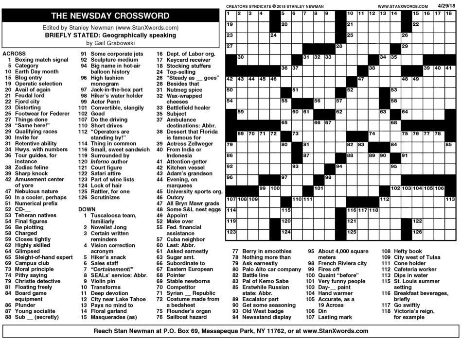 picture regarding Sunday Crossword Printable identified as Newsday Crossword Sunday for Apr 29, 2018, as a result of Stanley Newman