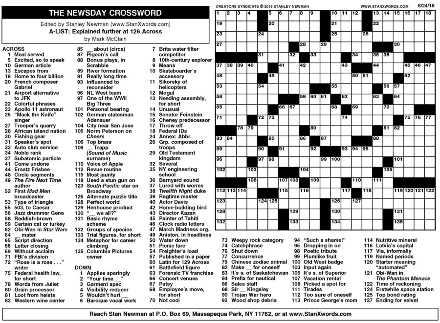 Newsday Crossword Sunday for Jun 24, 2018