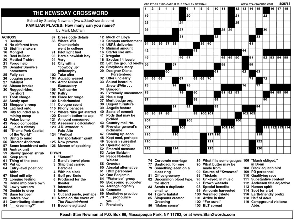 Newsday Crossword Sunday for Aug 26, 2018
