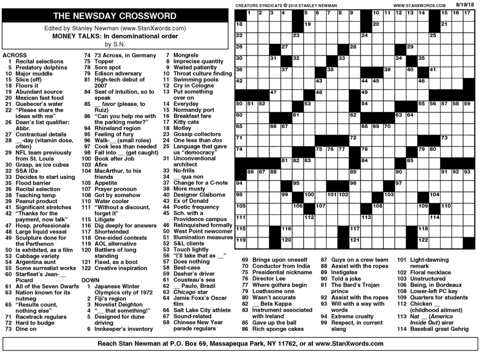 Newsday Crossword Sunday for Aug 19, 2018