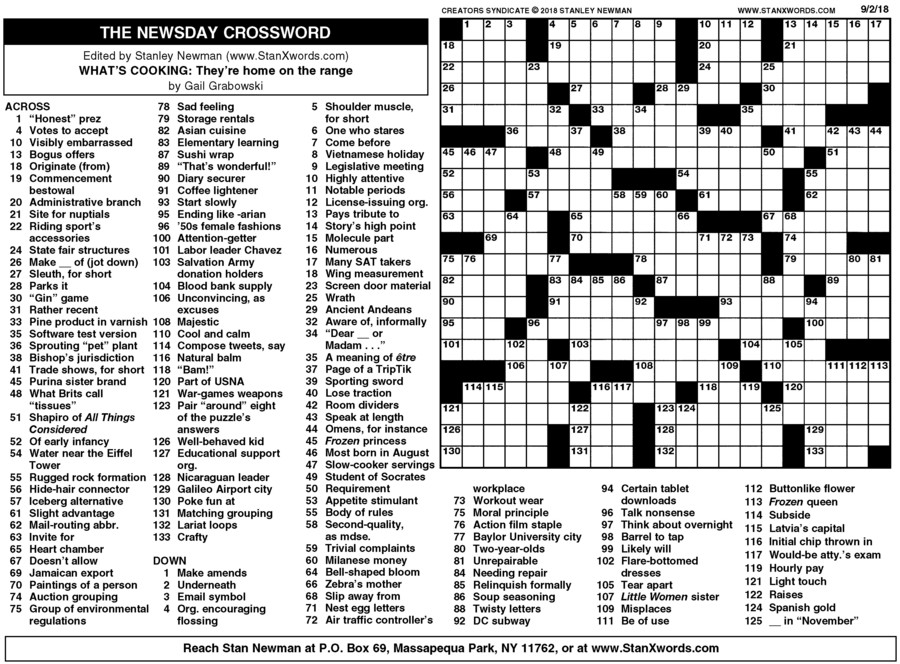 Newsday Crossword Sunday for Sep 02, 2018