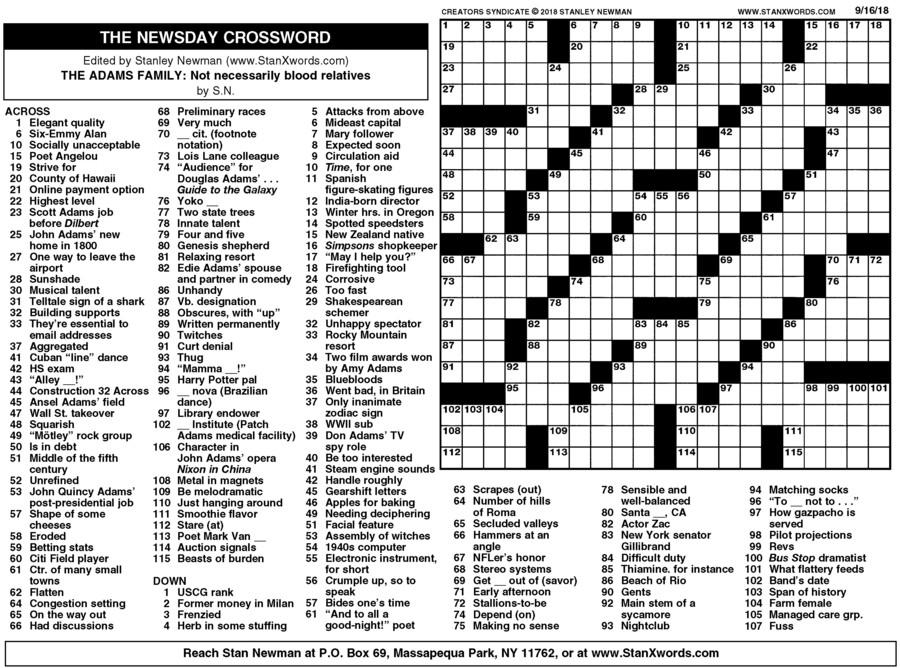 Newsday Crossword Sunday for Sep 16, 2018
