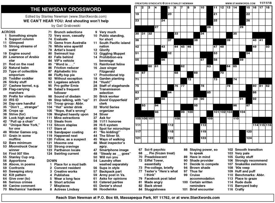 Newsday Crossword Sunday for Nov 11, 2018
