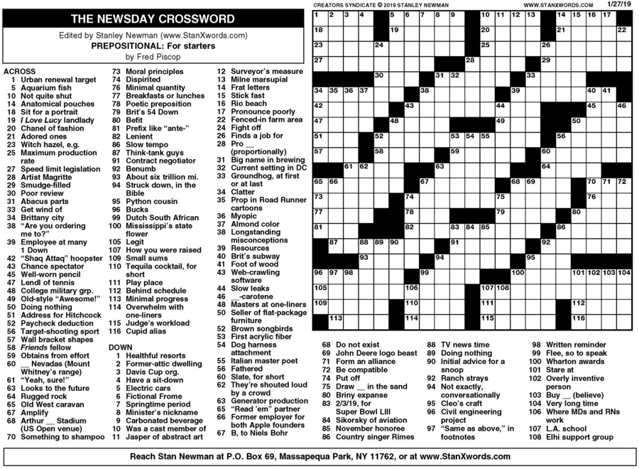 photograph about Sunday Crossword Printable known as Newsday Crossword Sunday for Jan 27, 2019, through Stanley Newman
