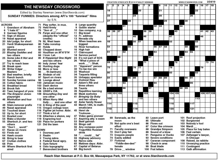 Newsday Crossword Sunday for Feb 24, 2019