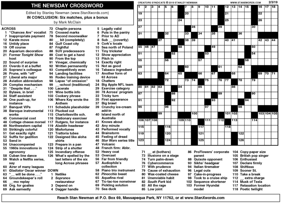 Newsday Crossword Sunday for Feb 03, 2019