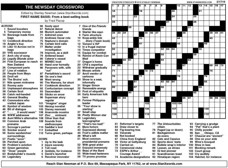 Newsday Crossword Sunday for Feb 17, 2019