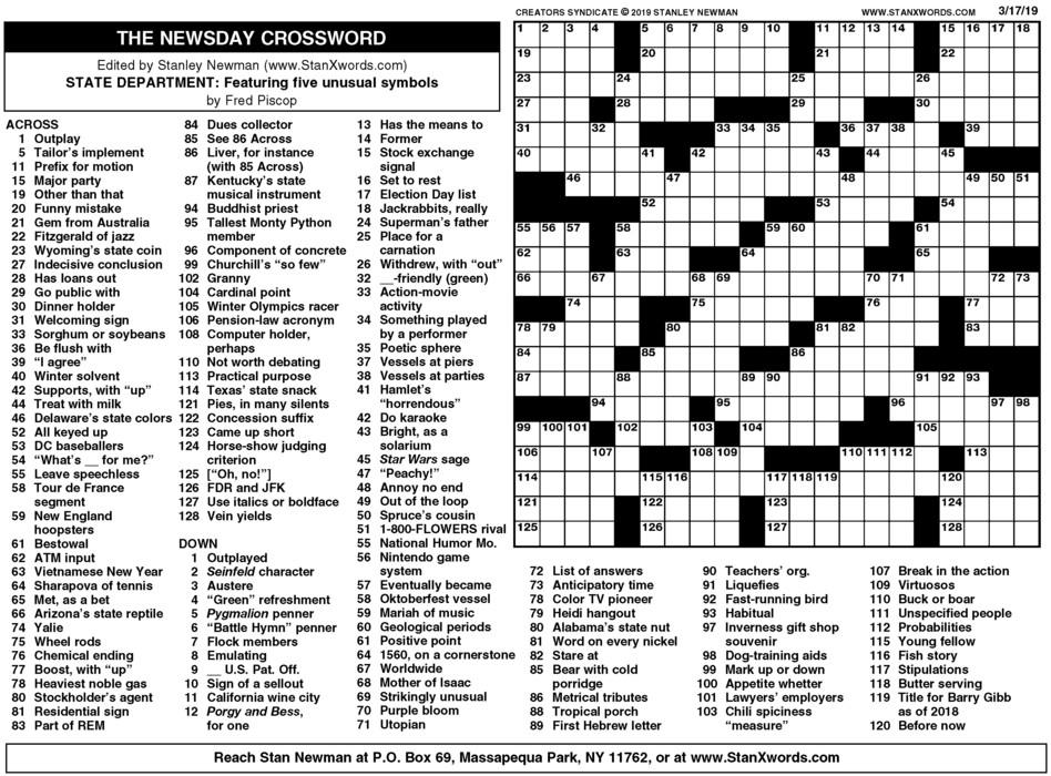 Newsday Crossword Sunday for Mar 17, 2019