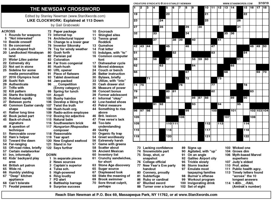 Newsday Crossword Sunday for Mar 10, 2019