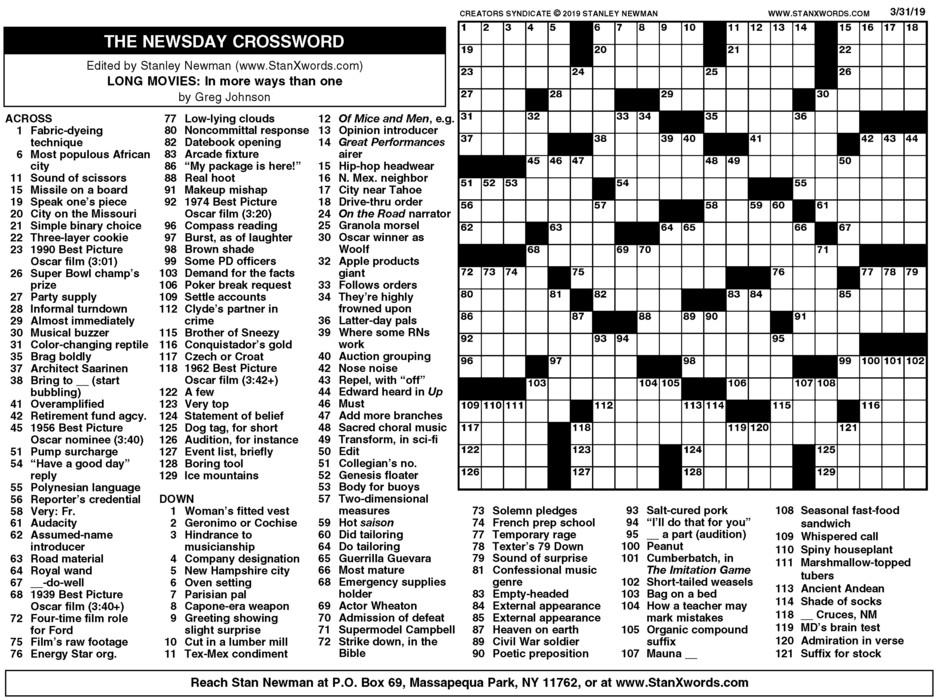 Newsday Crossword Sunday for Mar 31, 2019