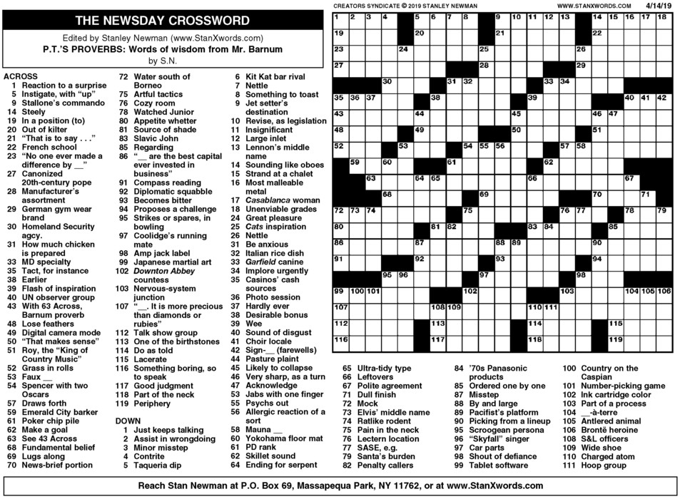 Newsday Crossword Sunday for Apr 14, 2019
