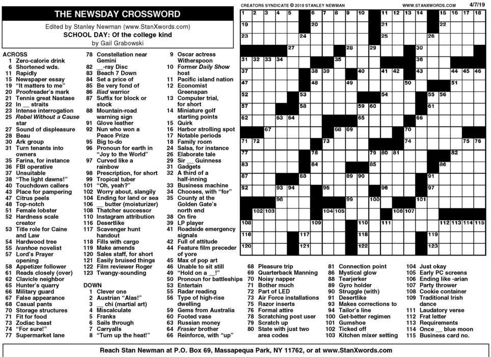 Newsday Crossword Sunday for Apr 07, 2019