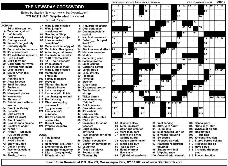 Newsday Crossword Sunday Creators Syndicate