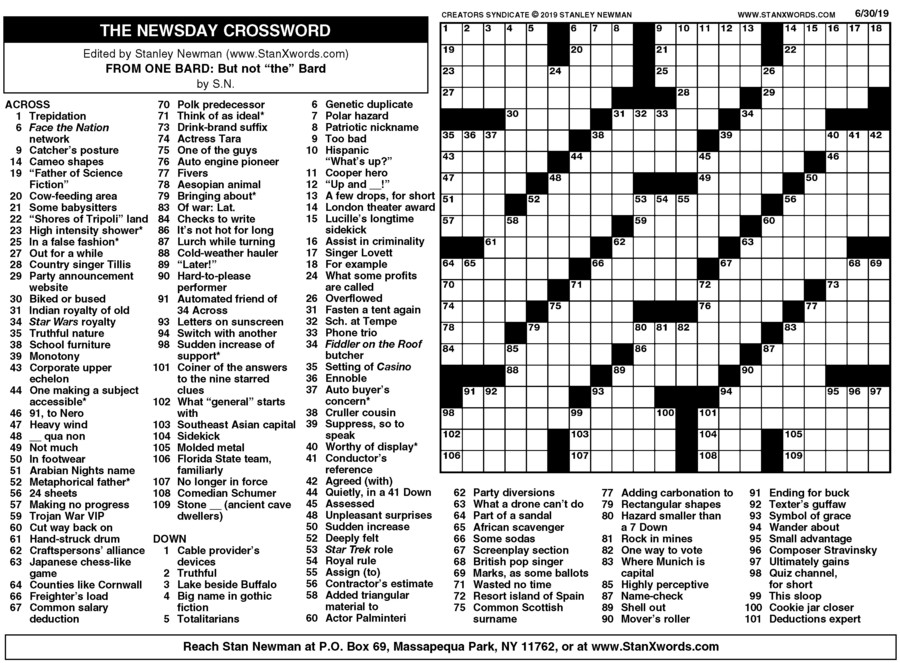 image relating to Printable Sunday Crossword Puzzle titled Newsday Crossword Sunday for Jun 30, 2019, through Stanley Newman