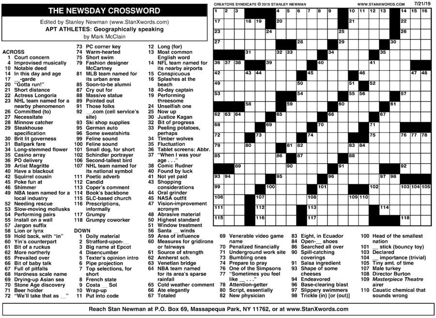 Newsday Crossword Sunday for Jul 21, 2019