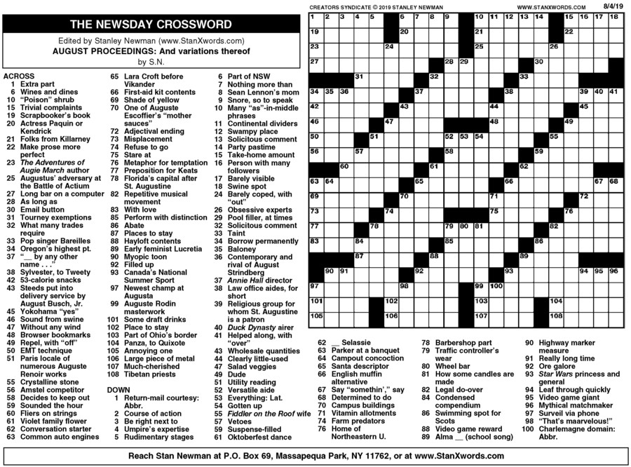 image regarding Printable Sunday Crossword named Newsday Crossword Sunday for Aug 04, 2019, as a result of Stanley Newman