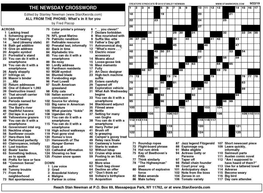 Newsday Crossword Sunday for Sep 22, 2019